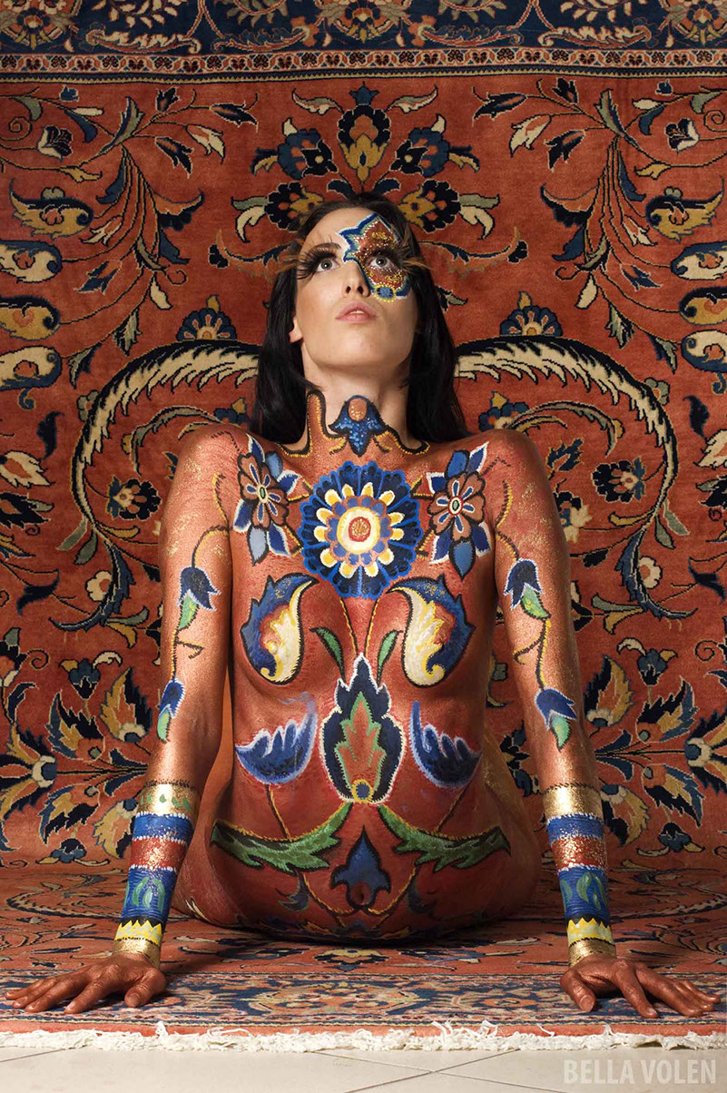 camouflage bodypainting persian carpet