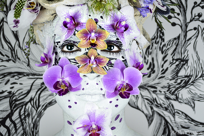 fine art body painting with orchids