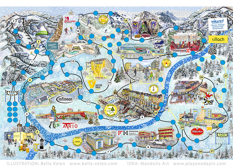 one day in villach-illustration brettspeil Winter/boardgame